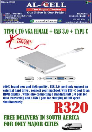 TYPE C TO VGA FEMALE + USB 3.0 + TYPE C