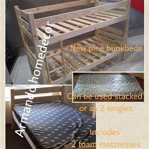 New pine wood bunkbed with mattress