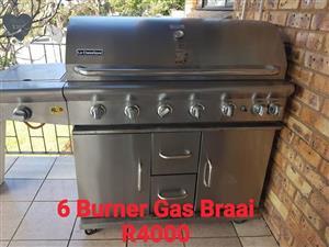 6 Burner gas braai