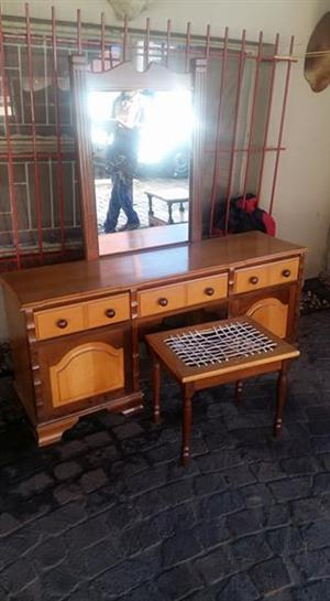 Dresser with mirror and stool