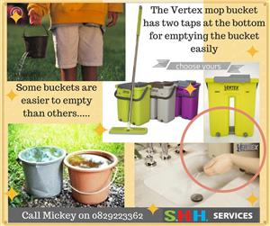 Splashing yourself wet while emptying your mop bucket ends with the Vertex  system.
