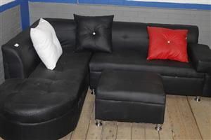 Black L-shape couch with ottoman S036639B #Rosettenvillepawnshop