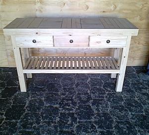 Dresser Farmhouse series 1500 slatted shelf and 3 drawers - Raw