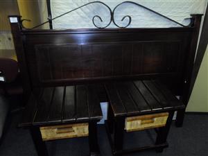 Wooden Headboard + 2 Pedestals