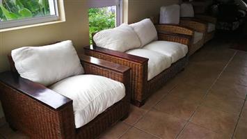 Cane patio set with wood trim