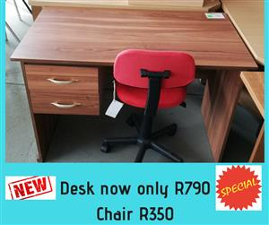 2 Drawer wooden desk with red