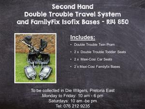 Second Hand Double Trouble Travel System and FamilyFix Isofix Bases