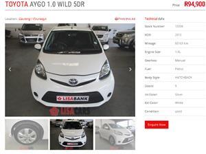 2013 Toyota Aygo hatch AYGO 1.0 (5DR)