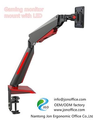 2020 computer gaming monitor mount arm clamp stand with  LED light OEM ODM manufacturer Jonoffice