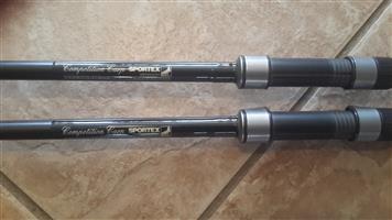 2 x German sportex 12ft 3lb carp rods for sale