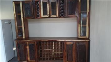 Sleeper wood kitchen cupboards