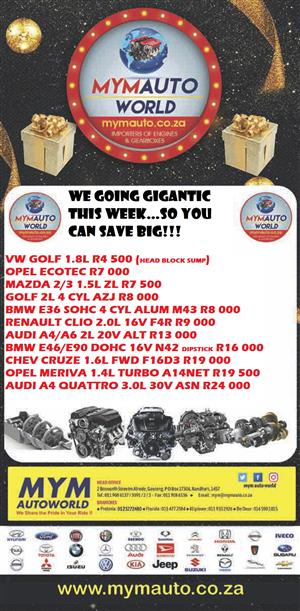 GIGANTIC STOCK CLEARANCE SALE AT MYM AUTOWORLD