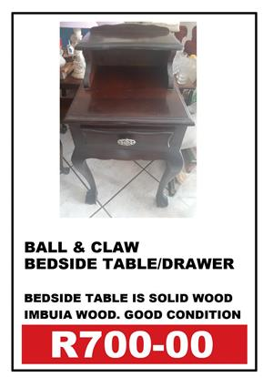 BALL & CLAW BEDSIDE TABLE/DRAWER