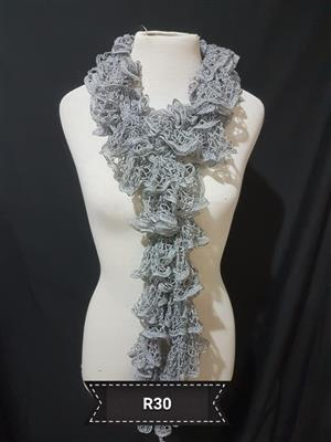Grey ruffle scarf for sale