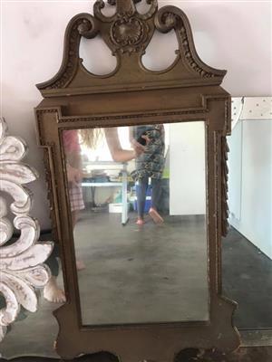 Brown framed mirror for sale