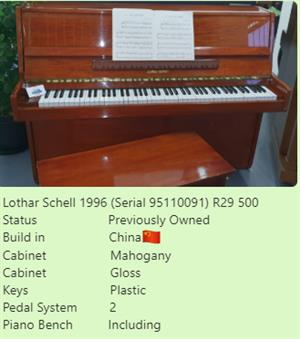 Upright Piano  Lothar Schell 1996 (Serial 95110091) R 29500