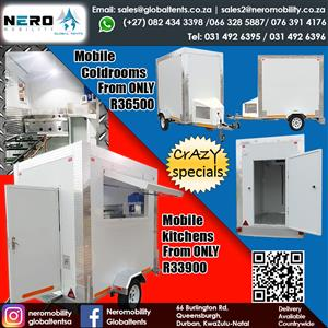 Mobile Coldrooms-fixed coldrooms- fridges - Mobile Kitchens- Mobile toilets-portable toilets- Mobile Bar- Tents -catering equipment