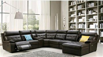 Candice corner lounge suite sofa set genuine leather uppers electric 3 motion wireless/speaker