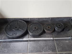 Gym Equipment Weight Plates Dumbell Discs Bar 84kg
