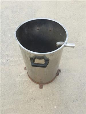 Stainless Steel open top container with pipe attachment at the top end and two handles
