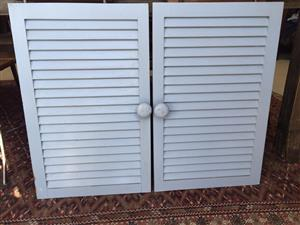 Pine Cupboard louvre doors in a powder blue finish - see price & size below
