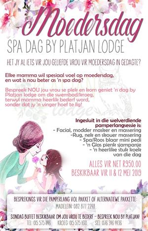 Mothersday SPA day special - Platjan Lodge