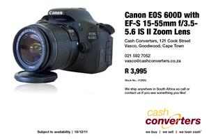 Canon EOS 600D with EF-S 15-55mm f/3.5-5.6 IS II Zoom Lens