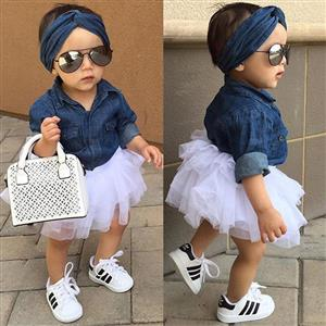 Denim baby set for girls (3piece)