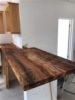 Solid African hardwood slabs