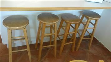 Bar stools, sapele wood and very sturdy.