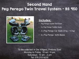 Second Hand Peg Perego Twin Travel System with Isofix Bases