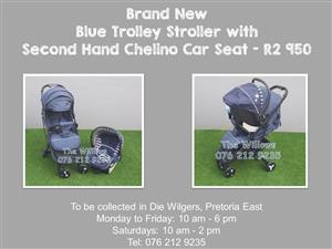 Brand New Blue Trolley Stroller with Second Hand Chelino Car Seat