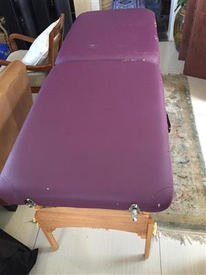 Professional portable Massage Table Bed - purple cushion - see pictures re condition