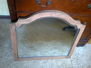 Vintage oak bevel mirror
