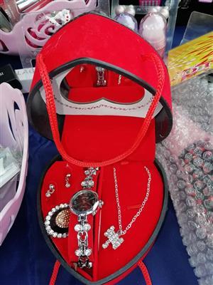 Red heart Jewellery set