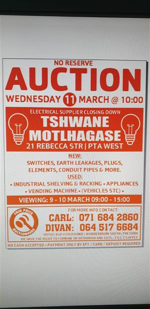 Massive clearance Electrical Auction 11 March