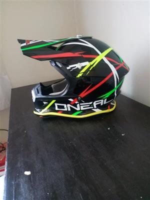1 X O'Neal Helmet - XL (61-62cm) - yellow, red ,green and white stripes