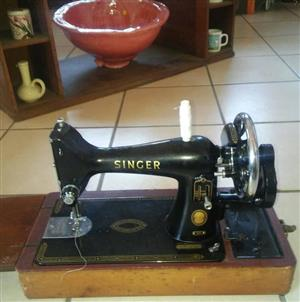 Antique Sewing Machine with Cover - Singer for Sale