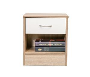 Hazlo Bedstand Side Table Pedestal With Drawer - Oak White