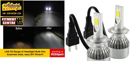 C6 LED bulbs for headlights from R250 per pair assorted sizes