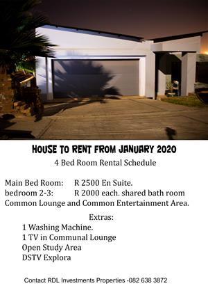 House To Rent from January 2020