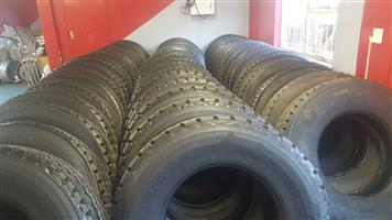 315 AND 12R80 22.5 VIRGIN RETREADED STOCK TYRES