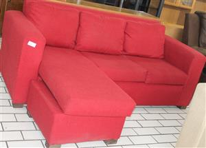 S034312D Red l-shaped couch #Rosettenvillepawnshop