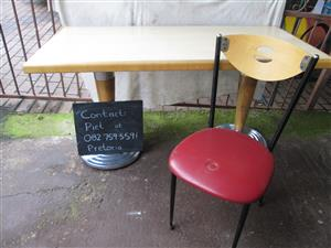 Vintage look Restaurant table and chair for sale.