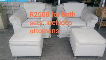White 1 seater couches with ottomans