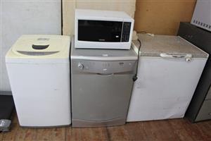 Microwave,toploader,dishwasher and freezer