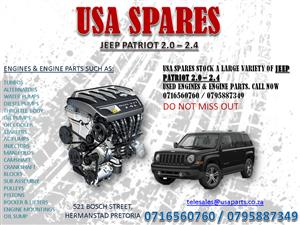 JEEP PATRIOT 2.0 – 2.4 USED ENGINES AND ENGINE PARTS @ USA SPARES