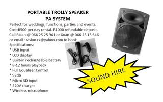 SOUND HIRE at R500 pd for a Portable Trolley Speaker | Junk Mail
