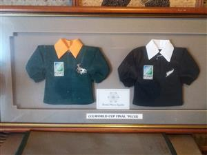 1995 World Cup small replica Rugby Jerseys framed