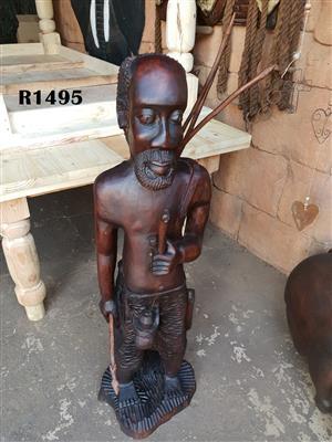 Classic Wooden Hunter Statue (1200mm high)